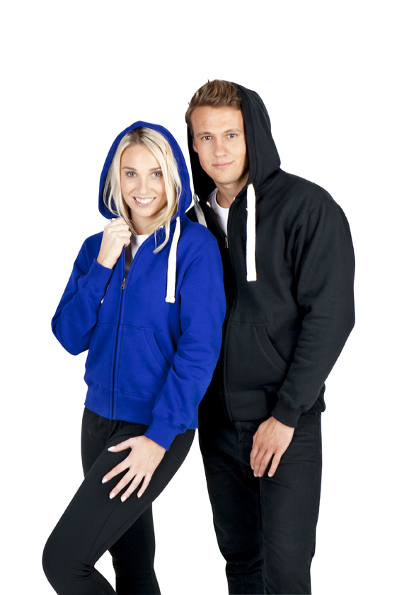 Heavy fleece hoodie with zipper